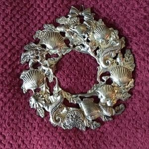 Int. Silver Co Silver Plated Seahorse Wreath
